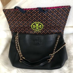 Tory Burch slouchy black leather tote